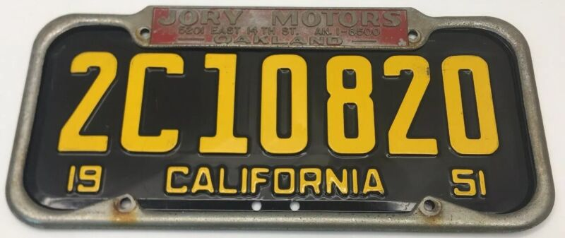 VERY RARE LARGE( OAKLAND CA.) JORY MOTORS-EAST 14th St. LICENSE PLATE FRAME ONLY