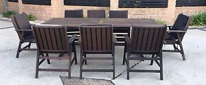 Nullabor 8 seater dark timber outdoor setting with cushions Beerwah Caloundra Area Preview