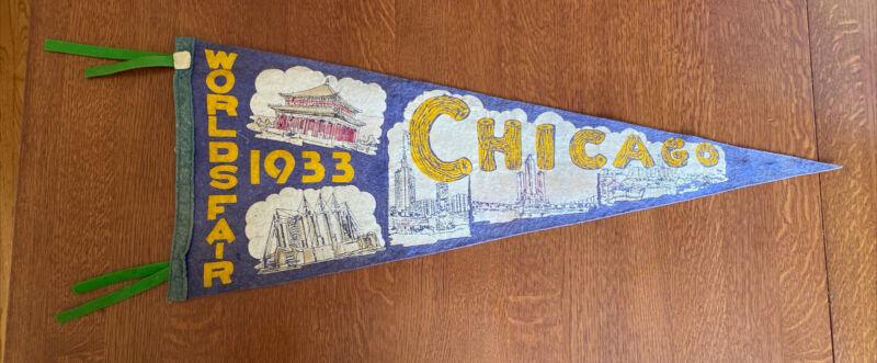"original Chicago Worlds Fair 1933 Pennant 28"""
