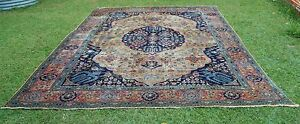 GENUINE RARE EXTRA LARGE ROOM SIZE ANTIQUE HAND KNOTTED PILE RUG Circa 1900