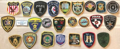 >> *(25)* << TWENTY-FIVE ALL DIFFERENT U.S. POLICE MIXED LOTS PATCHES PATCH F 3