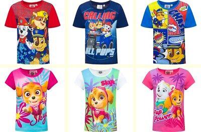 Shirt Mädchen Jungen Kurzarm Shirt 100 % Baumwolle Neu (Paw Patrol Mädchen)