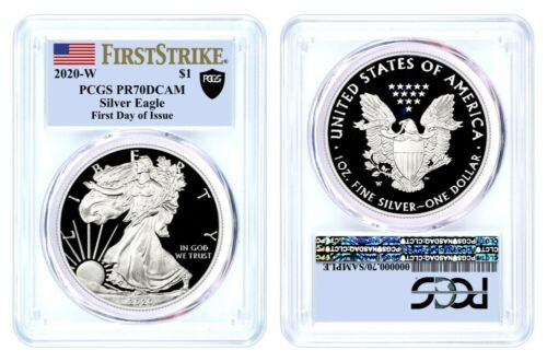 2020 W $1 Proof Silver Eagle PCGS PR70 DCAM First Day of Issue Black Shield