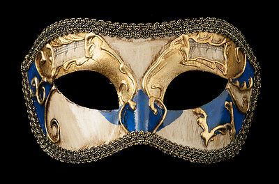 Mask from Venice Colombine Golden Blue-Costume-Party-Bal- 1925 -V82B