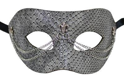 nstleder Grau für Fasching Maskenball Karneval Halloween (Maskenball Halloween)