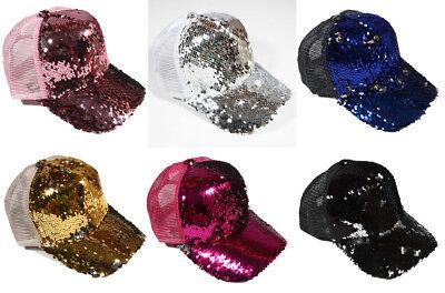 Sequin Baseball Cap (Women's DOUBLE SEQUIN Reversible Magic Sequin Snapback Hat Baseball)