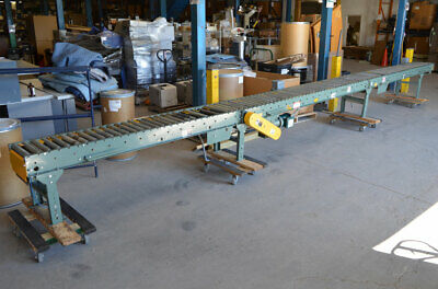 Hytrol 27.5 3-ph Powered Belt-driven Roller Conveyor 3-section 18w 2-box-stops