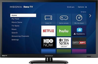 "Insignia- 24"" Class (23.6"" Diag.) - LED - 720p - Smart - HDTV Roku TV"