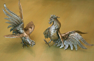 Silver Plate Italian Fighting Roosters