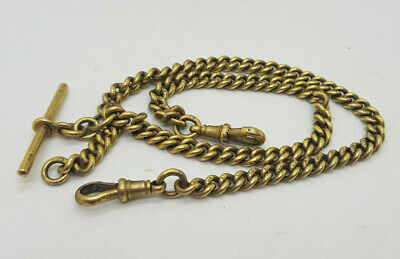 ANTIQUE SOLID SILVER&GOLD PLATED DOUBLE ALBERT POCKET WATCH CHAIN ALL HALLMARKED