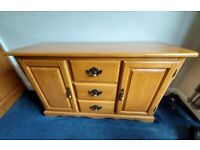 Solid pine 3 drawer sideboard 51 inches wide x 31 inches high