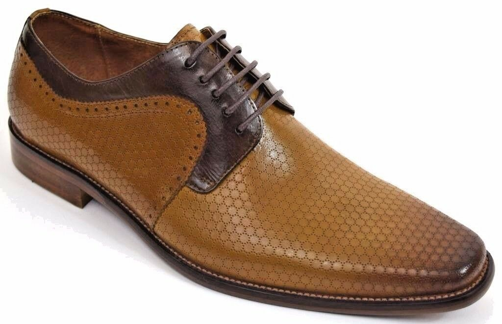 Men's Dress Shoes Plain Toe Oxford Scotch & Brown Leather STEVEN LAND SL0014