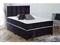 TOP QUALITY- BRAND NEW DOUBLE OR KING CRUSHED VELVET SILVER BLACK DIVAN BED SEMI ORTHOPEDIC MATTRESS