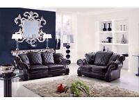 SPECIAL PROMOTION -BRAND NEW ITALIAN CHESTERFIELD WINGBACK DIANA 3+2 BLACK LEATHER SOFA + DELIVERY
