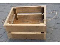 Rustic Old Wood Rope Handled LOG BOX