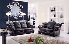 BIG SALE - BRAND NEW ITALIAN CHESTERFIELD WINGBACK DIANA 3+2 BLACK LEATHER SOFA + DELIVERY