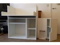 WHITE IKEA STUVA CHANGING TABLE/DESK AND SMALL FLOOR/WALL UNIT £65.00 N.O.