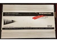 CAR AMPLIFIER BOSSCHMANN 900 WATT 4 CHANNEL STEREO AMP TO RUN THE SUBWOOFER OR DOOR SPEAKERS AMP