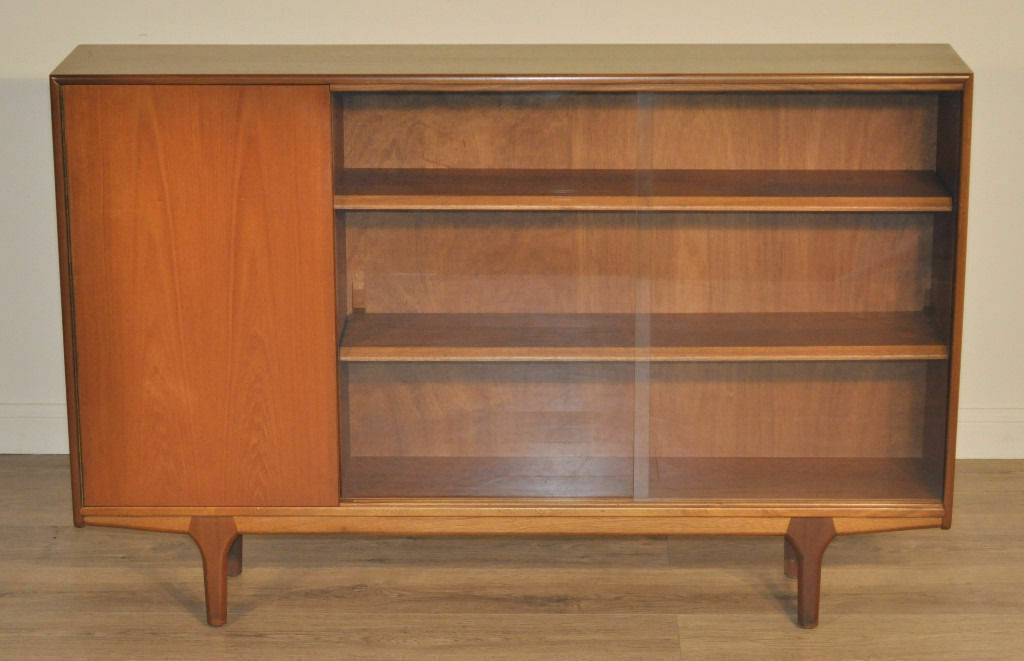 Retro McIntosh Long Low Teak Glass Sliding Door Bookcase Cabinet With Cupboard