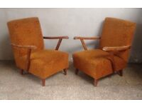 Pair of Vintage French Inspired Fireside CHAIRS Furniture Decor Mid-Century