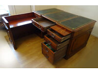 Victorian Double Sided Partners Desk with Extension Flame Mahogany New Leather