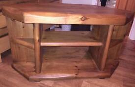 Solid wood handmade tv corner unit
