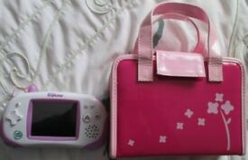 Pink Leapfrog Leapster Explorer with stylus, USB computer lead, Pink Handbag case and one game