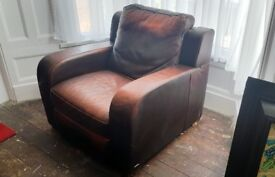 Natuzzi Italian Leather Recliner Armchair / Club Chair - Fantastic Chair