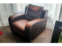 Natuzzi Italian Leather Recliner Armchair / Club Chair - Fantastic Chair