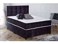 3FT SINGLE / 4FT6 DOUBLE / 5FT KING SILVER CRUSHED VELVET DIVAN BED AND MATTRESS DRAWERS + HEADBOARD