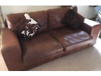 Indigo Leather Sofa - great condition, good quality leather & comfy ! £750 or nearest offer.