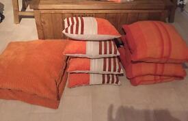 Curtains, cushions, candles, light shade, canvas orange/tangerine
