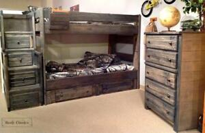 Rustic Classics Pine Twin over Twin Bunk Bed in Rustic Grey in Stock in Canada