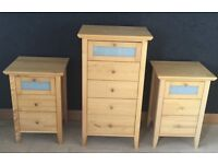 Solid wood Chest of Drawers and 2 Bedside Cabinets