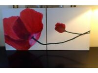 Red Poppy on White 2 Panel Wall Art Picture 40 x 40 cm