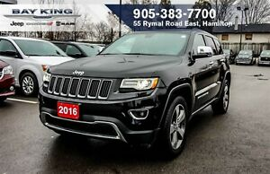 2016 Jeep Grand Cherokee LIMITED 4X4, NAVI, HTD LEATHER, 20 WHEE