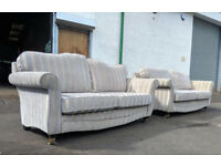 3+3 Gold stripe duresta style couches DELIVERY AVAILABLE
