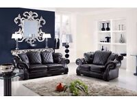 BRAND NEW WINGBACK DIANA BLACK LEATHER 3+2 SOFA + DELIVERY