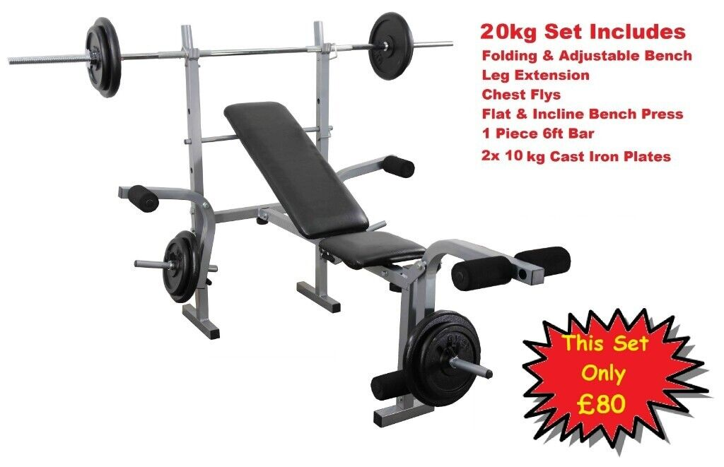 Complete Home Weight Training Set Folding Exercise Bench With Fly Attachment Bar Weights 80 In Appleton Cheshire Gumtree