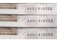 **5 x AA01 BANK NOTES WITH VERY LOW & CONSECUTIVE SERIAL NUMBERS**