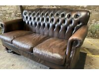 LEATHER CHESTERFIELD 3 seater Thomas Lloyd Brown Leather Sofa