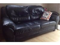 black leather 2 seater settee