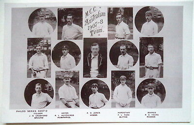 ENGLAND (MCC) TO AUSTRALIA 1907-08  CRICKET POSTCARD