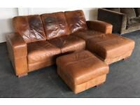 Distressed Style Leather Corner Sofa & Footstool.Can Deliver