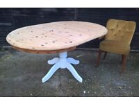 Solid Pine Round Extending Dining Table ~ Vintage White *FREE DELIVERY* Shabby Chic