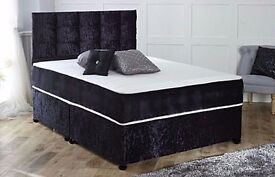 BRAND New Crushed Velvet Fabric Divan Bed Base With Supreme Orthopedic Super Quality Mattress