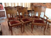 SET 6 DINING CHAIRS PLUS 2 SEATER SETTLE VINTAGE MAHOGANY