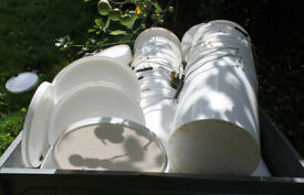~40 food grade 25litre white plastic buckets with handles and lids free to good home