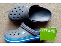 Crocs Crocband, Brand New- Unisex-Adults Clogs, Black (Charcoal/Ocean), M6/W7 UK