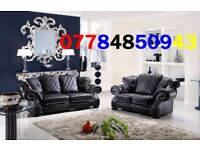 luxury Leather 3+2 Sofa black this week